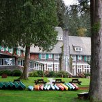 Lake Quinault Lodge from lake shore