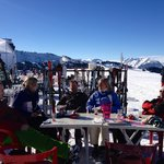 lunch on the slopes in the sunshine