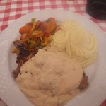 Beautiful steak with roasted veg and mushroom sauce.