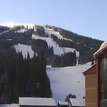 View of ski slope off American Eagle chairlift in Center Village