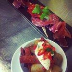 Cured meats and pan fried chorizo, shallots, new pots