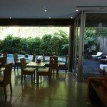 Breakfast area looking towards outdoor pool