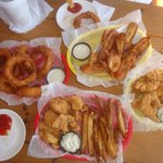 Onion rings, fried pickles, grouper nuggets & fries@ The Boardwalk Grill!