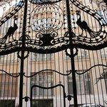 Puerta de Hierro forjado con pavos reales
