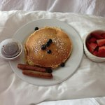 "Breakfast that we ordered in "" blueberry pancakes although they got the order"