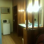 Microwave and refrigerator in dressing room