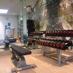 24hr gym - has  3 cardio machines, free weights