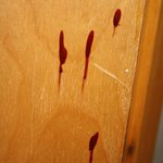 Slightly scary...is this blood or varnish? (on bathroom door bottom)