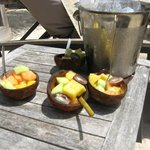 fruit salad served to beach visitors