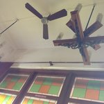 The ceiling with old fans