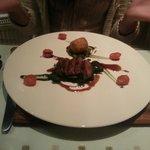 Lamb fillet, lamb shank croquette, tomato, basil & olive