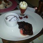 Hot chocolate pudding, blood orange trifle & sorbet