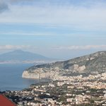 The view from our balcony with Sorrento, Bay of Naples and a brooding Vesuvius