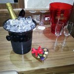 The champagne and Chocolates.