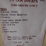 and the menu is.....