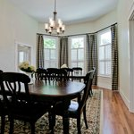 The tastefully decorated dining room seats up to 12 guests for family-style meals.