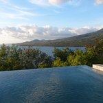 infinity pool overlooking ocean and mt. malindig