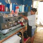 Lillian making the blended Chai Tea