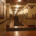 One of the hallway areas, with many photos and other historic items