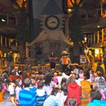 Kids gather in the main lodge for story telling in the evening and to meet one of the critters