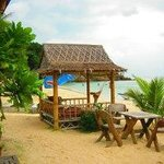Outdoor dining areas on the beach