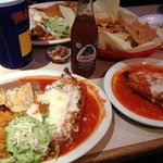 chile relleno, rice, beans, beef tamal, and Jarritos soda (tamarindo)