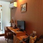 View from door - bathroom and TV