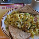 Country Style Eggs and rye bread toast