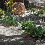 Dry Riverbed garden with Xerix plants outside the Sandia Room