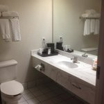 more of a motel 6 bathroom.  thin towels and in need of maintenance    my leas