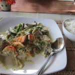 Our Thai vegetable and chicken in coconut milk