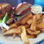 Turkey Bacon club on Pretzel Bread w/ fries and coleslaw and soup - $8