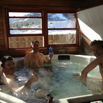 enjoying the hot tub after a day on the slopes