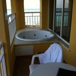 The 2 person jacuzzi tub on our balcony--2nd floor but lacked privacy, used on