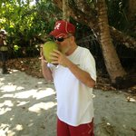 Drinking from Coconut on the Beach. Just don't get no better than that !!