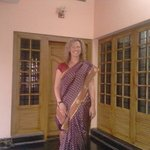 the foreigner lady in the indian dress