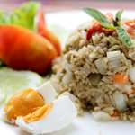 Chicken green curry fried rice with salted egg