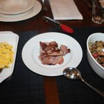 Creamy scrambled eggs, grilled bacon, sauteed mushrooms