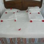 flowers placed on our bed by room service