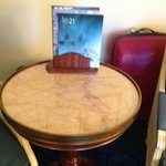 Marble table; don't try to move it if you have a back condition