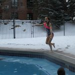 Swimming outside in February!