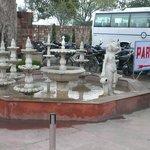 Fountains near parking