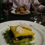 Starters - Battered, fried vegs and Polenta sandwich - both delicious!