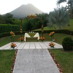 wedding altar with volcano view