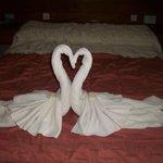 habitacion matrimonio  con thoallas en forma de cisnes