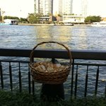 Baskets of bread to feed the fish in the river