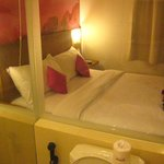 bed from bathroom