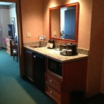 Middle of suite - sink, fridge, microwave, coffee maker