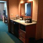 Middle of suite - sink, fridge, microwave, coffee maker