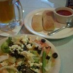 Greek salad, sam adams boston lager